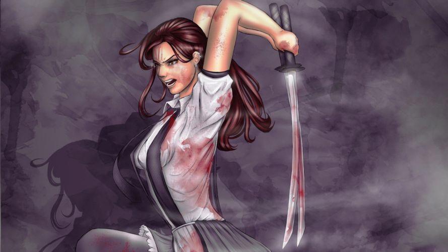 WARRIOR - girl sword katana art wallpaper