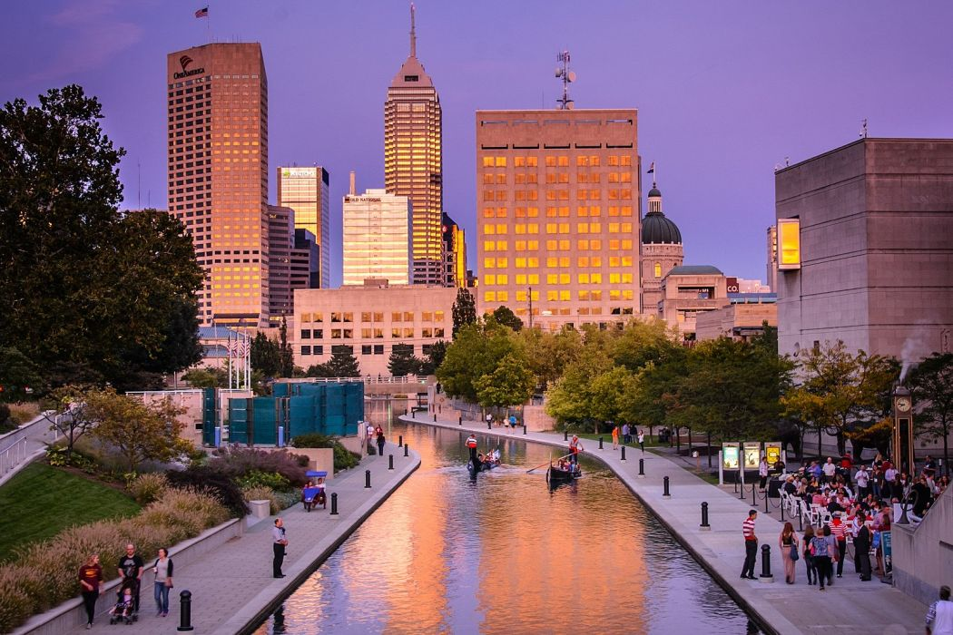 architecture art bridges buildings cities City Indiana Indianapolis Downtown graphitis Night offices port center storehouses stores towers USA wallpaper