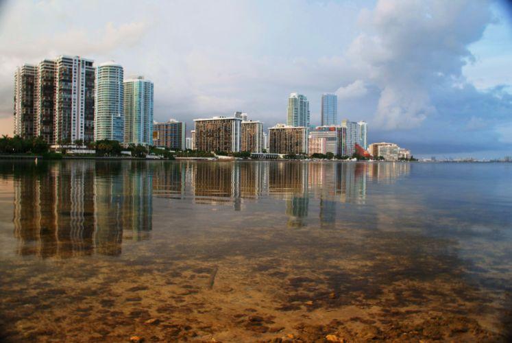 beach City Florida floride Miami ocean Sea USA architecture art bridges buildings cities port towers roads night light wallpaper