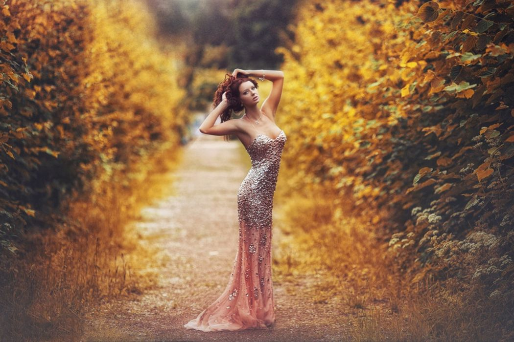red hair leaves model dress colors woman autumn wallpaper