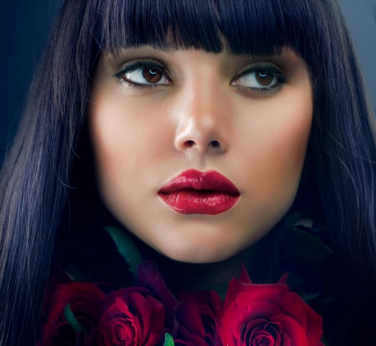 red lovely beautiful woman makeup hair people red roses pretty brunette female beauty roses girl face red lips red rose photography eyes lips rose wallpaper