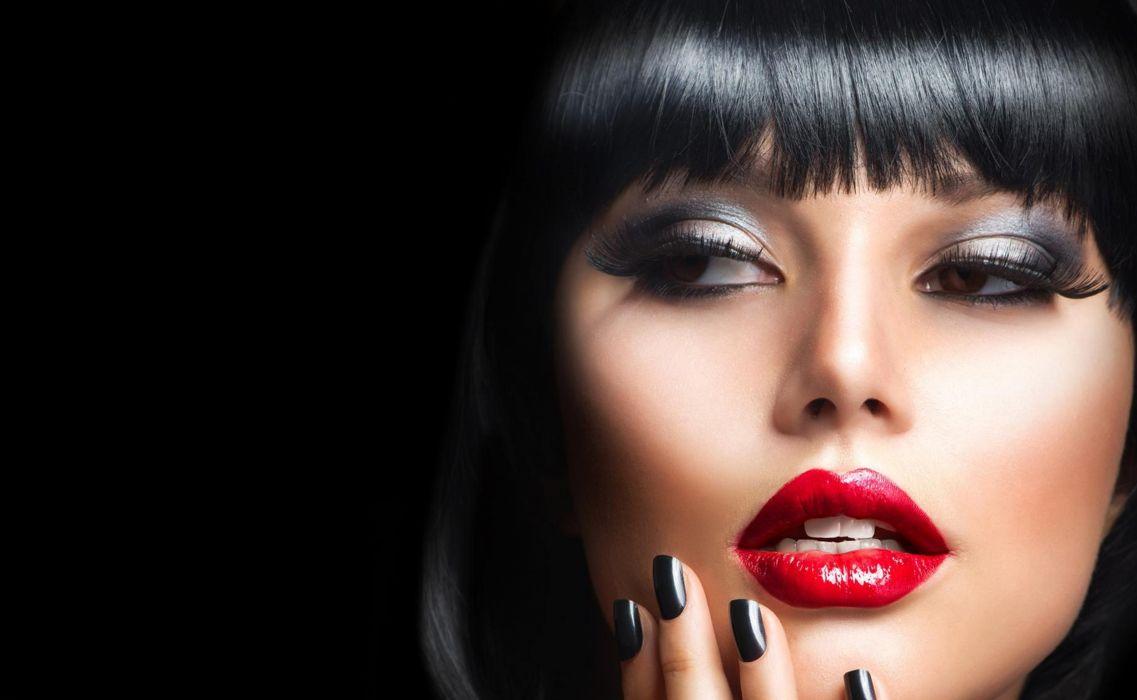 red lips brunette girls wallpaper