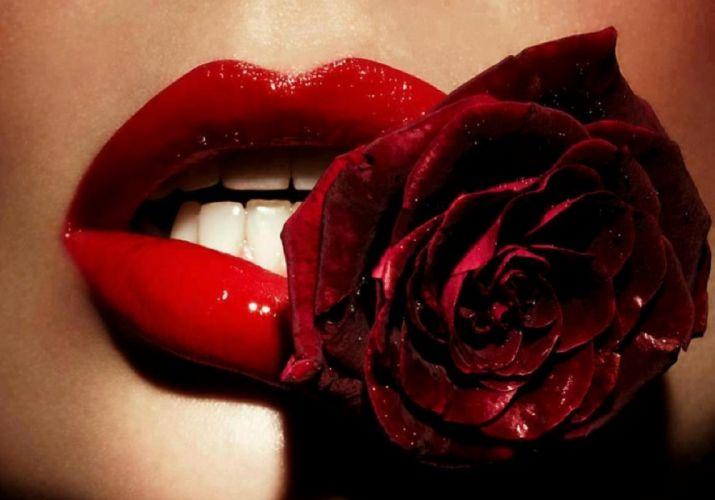 red lips rose woman wallpaper