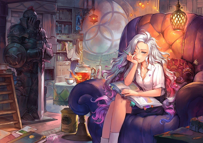 Books anime girl white hair pencil long hair lamp ...
