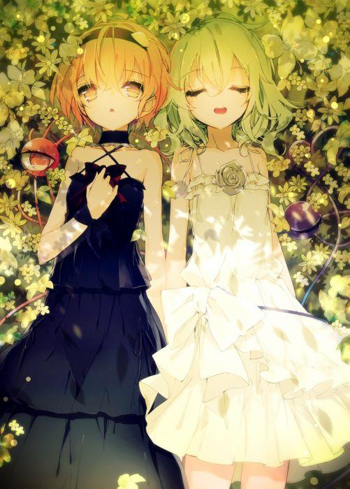 girls pretty red eyes flower green rose white dress black dress wallpaper