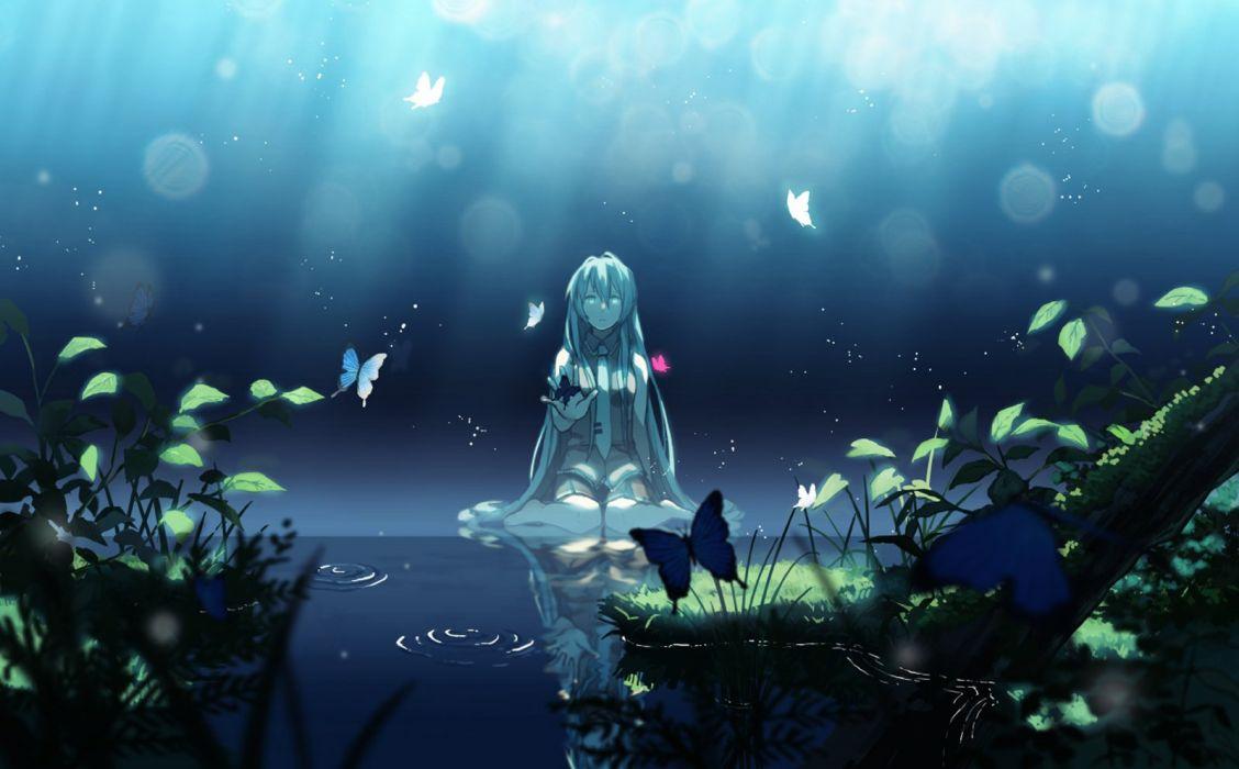 lake dark butterfly alone girl flower fog light wallpaper