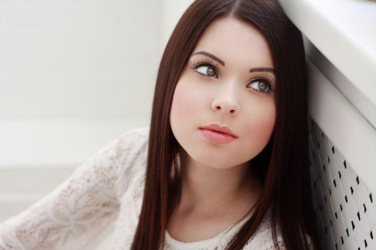 girl beautiful model face blush eyelashes eyes green hair jacket wallpaper