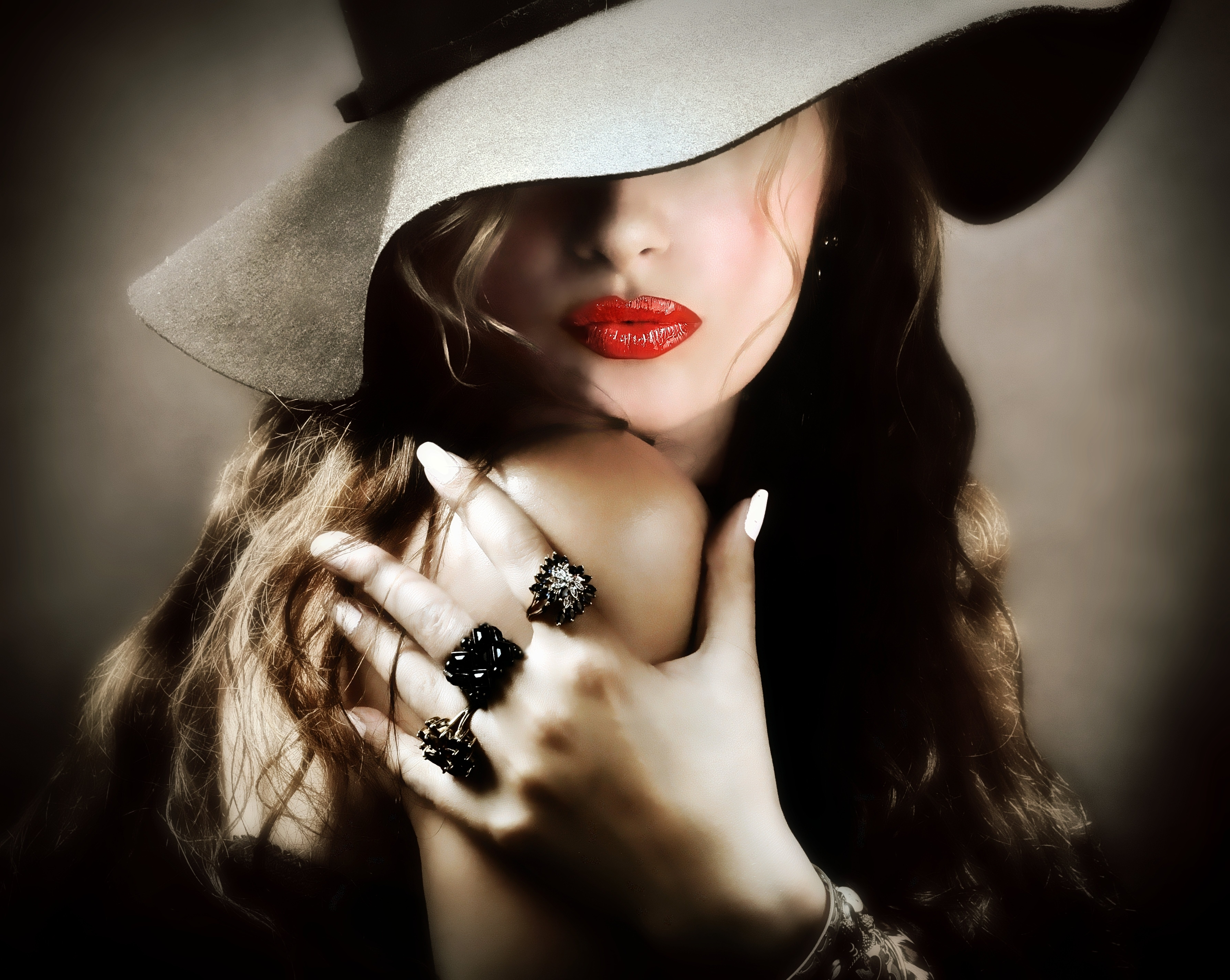 girl lipstick red lips hat hand ring wallpaper | 7150x5696 | 485555
