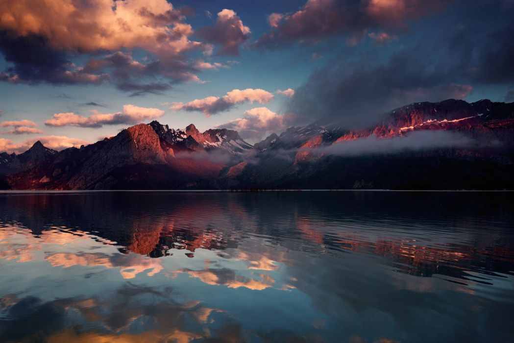 nature snow lake clouds mountains wallpaper