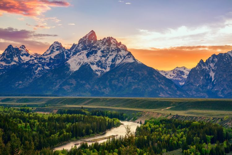 USA Wyoming mountains river forest sunset sunrise wallpaper
