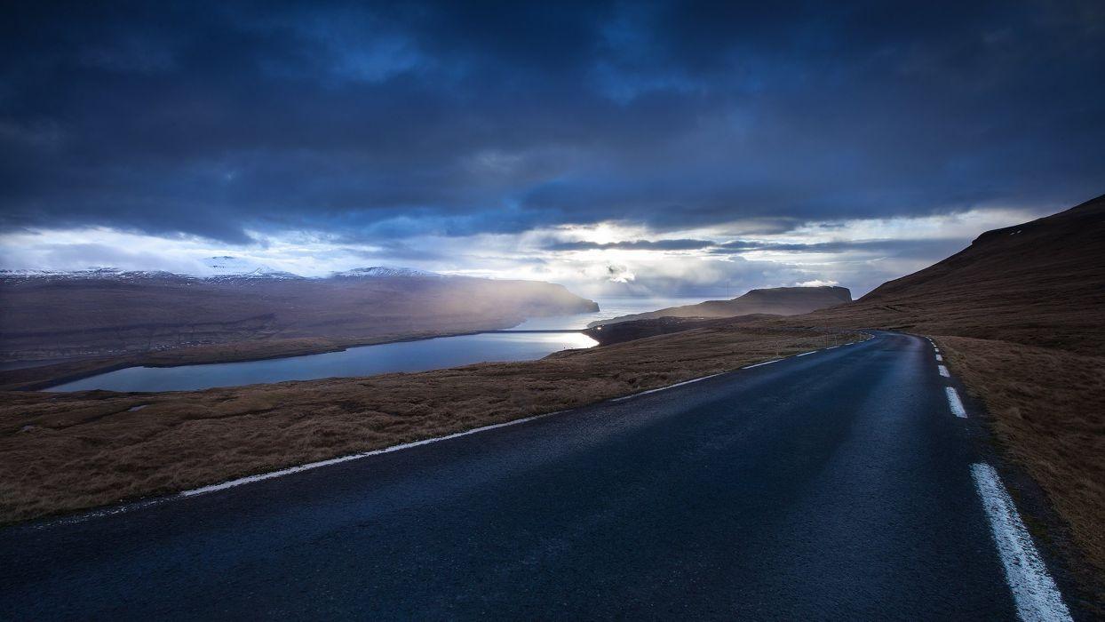 Faroe Islands evening landscape road lake sea ocean clouds wallpaper