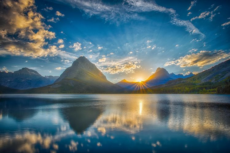 sky mountains lake nature landscape reflection wallpaper