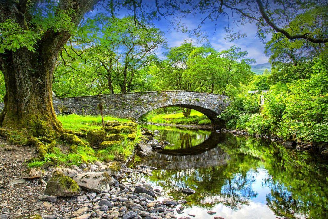 river bridge rocks trees landscape reflection wallpaper