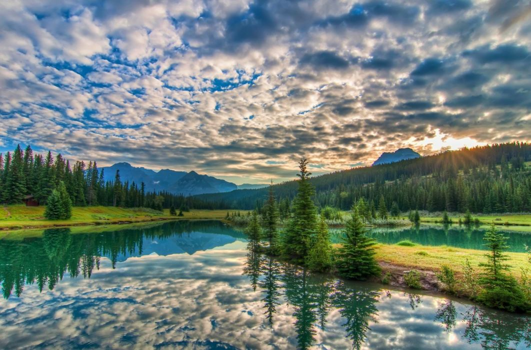 Banff National park sunset lake mountains trees landscape reflection clouds wallpaper
