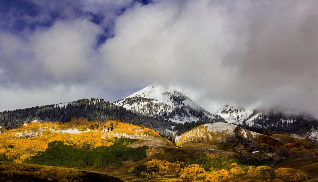 Colorado fall mountain forest clouds autumn wallpaper