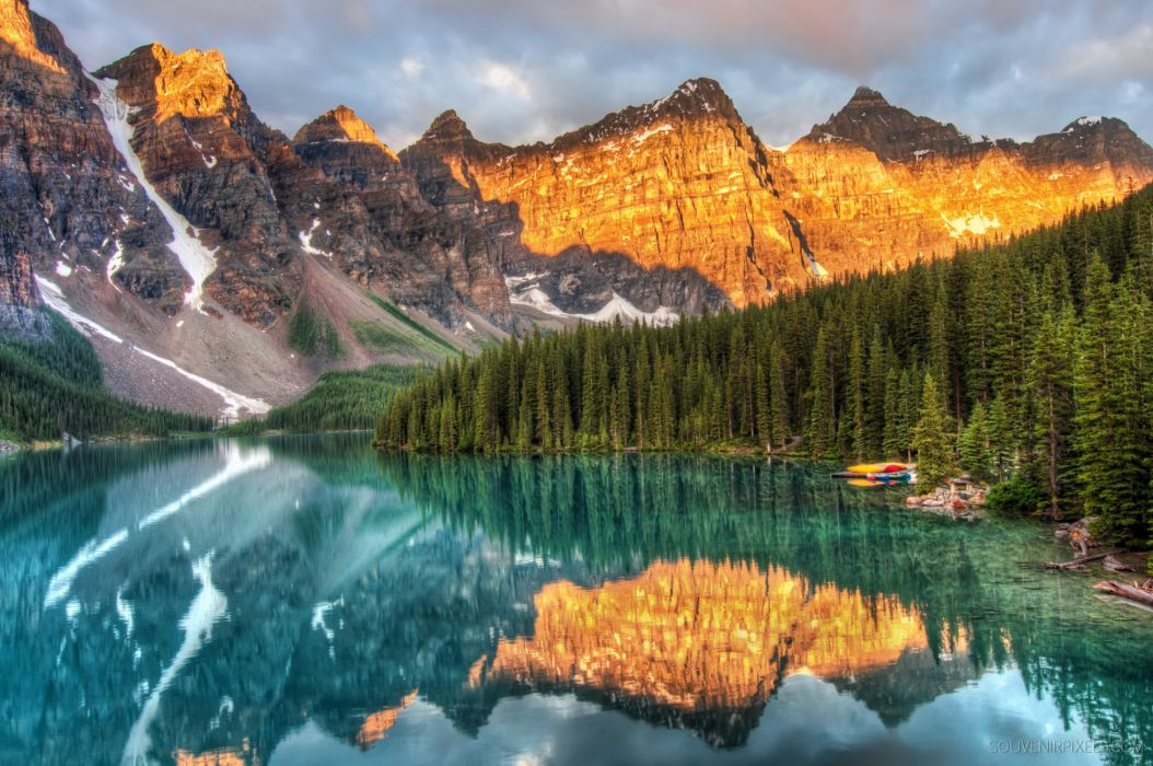 Moraine Lake Canada Alberta mountains forest reflection wallpaper