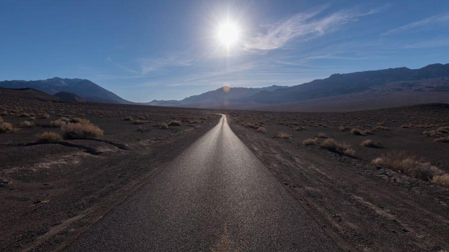 road mountain steppe light sun desert landscape wallpaper