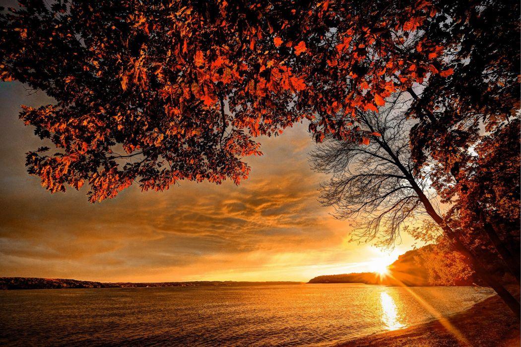 Landscape autumn coast sunset sky lake sea ocean beach wallpaper