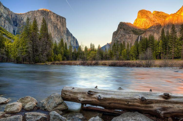 Yosemite National Park river waterfall trees landscape wallpaper