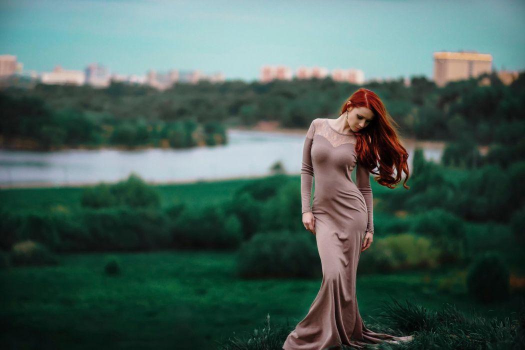 red-haired figure shape dress waist wallpaper