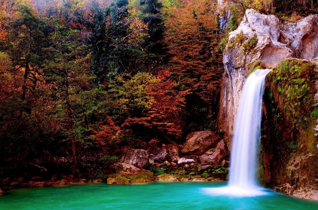 waterfall nature autumn wallpaper