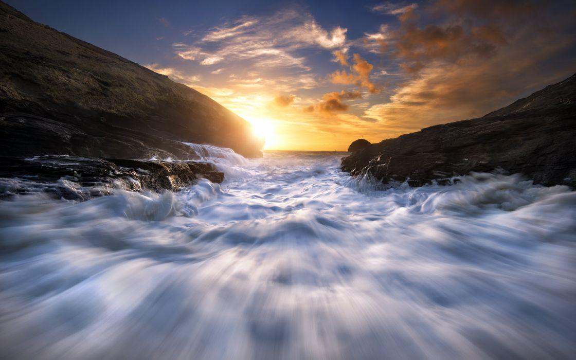 Celtic Sea sea sunset coast surf foam wallpaper