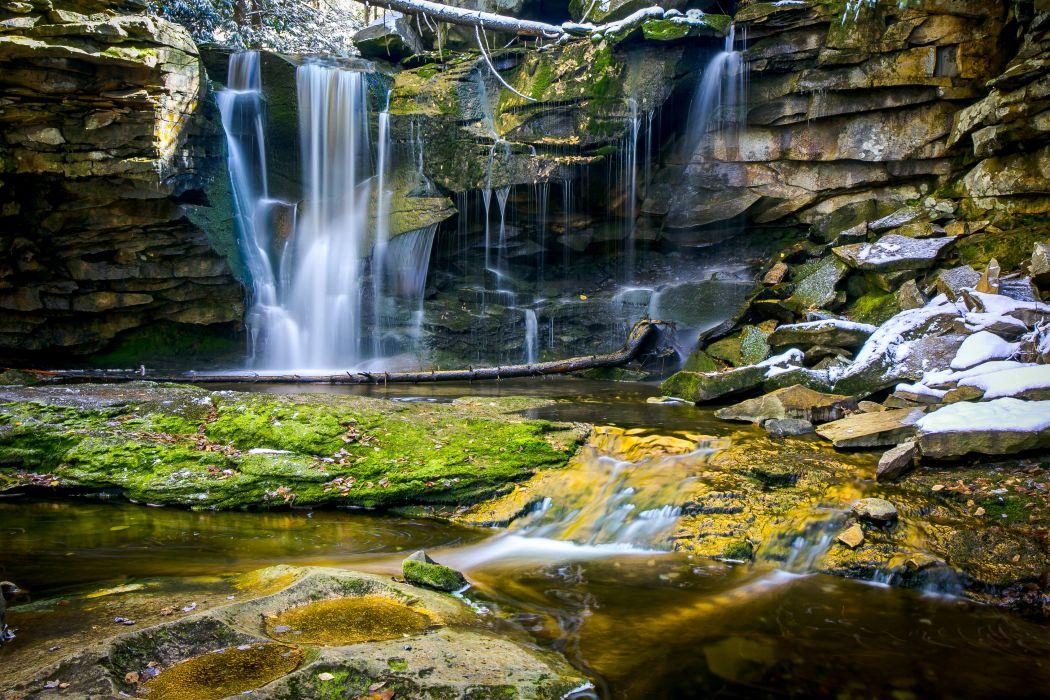 waterfall rocks nature wallpaper