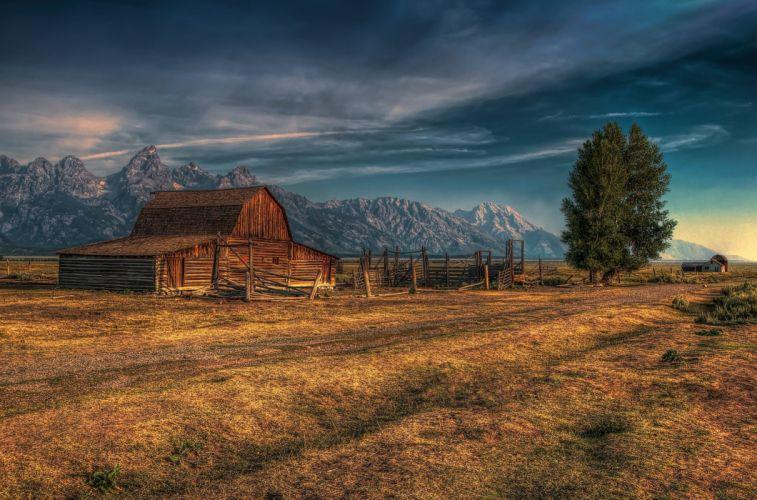 Mormon Row Grand Teton National Park Jackson Hole Wyoming USA barm farm rustic mountains autumn d wallpaper