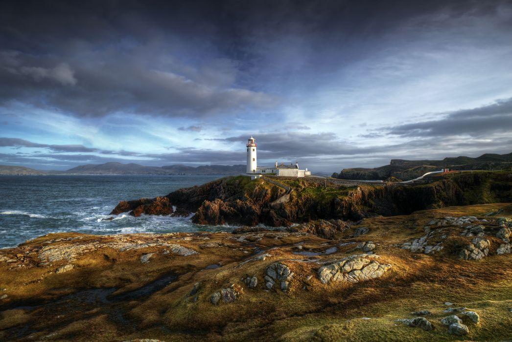 Fanad Head County Donegal Ireland lighthouse sea ocean coast wallpaper