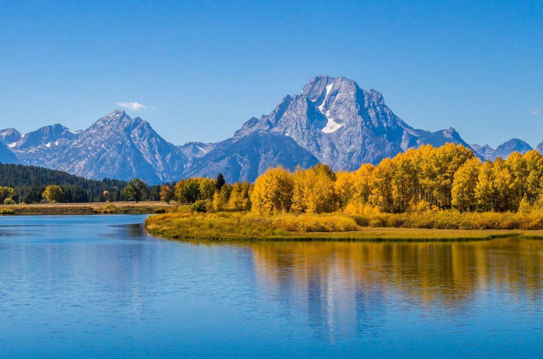 reflection forest Mount Moran Grand Teton Wyoming riber mountains autumn wallpaper