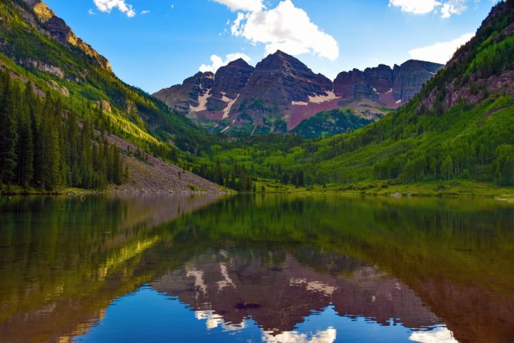 clouds lake mountains reflection forest forest Maroon Bells Colorado wallpaper