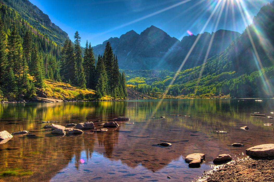 lake USA Colorado Maroon Bells sun sunlight forest mountains wallpaper