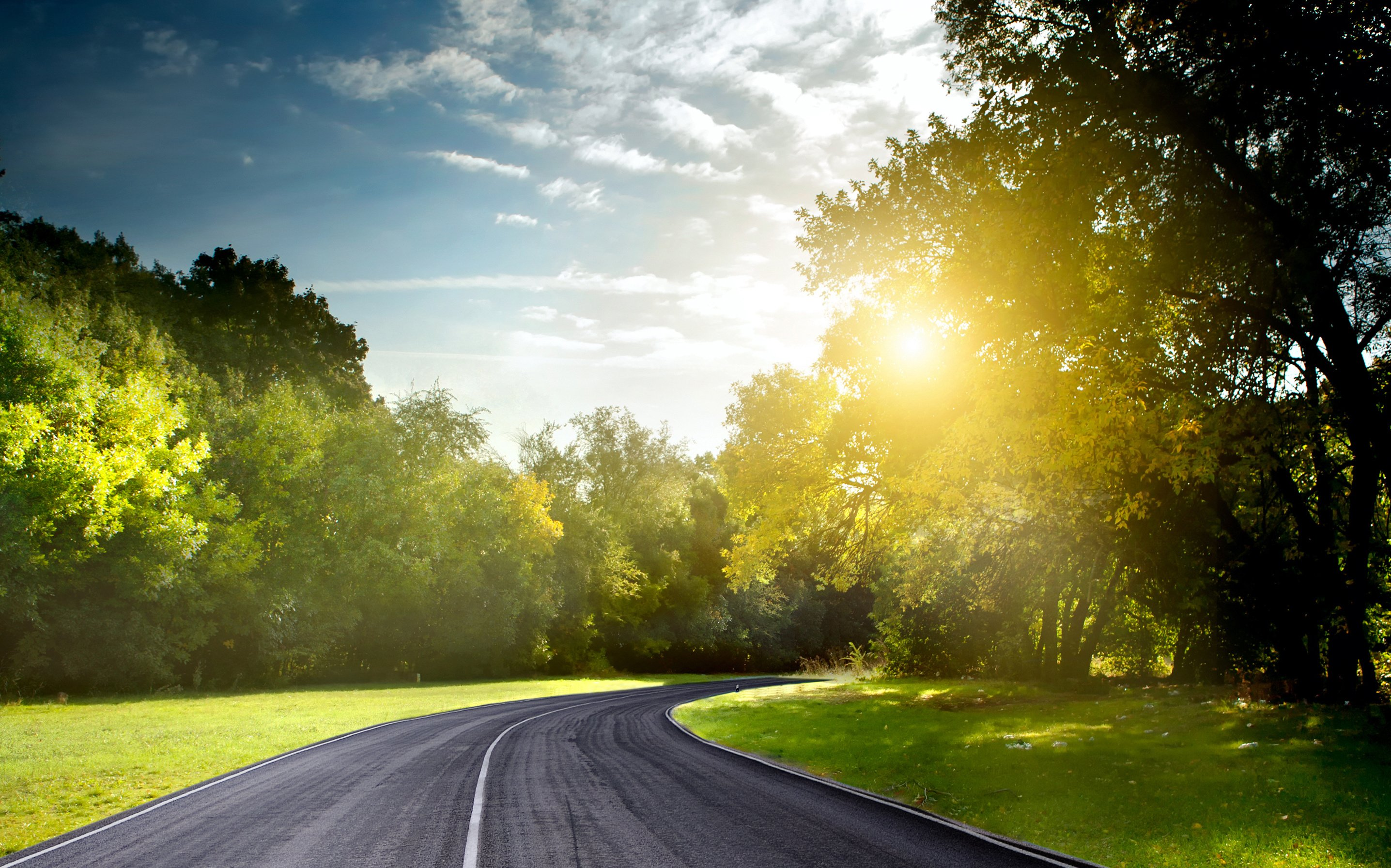 Road Nature Sun Light Summer Sunrise Sunset Wallpaper
