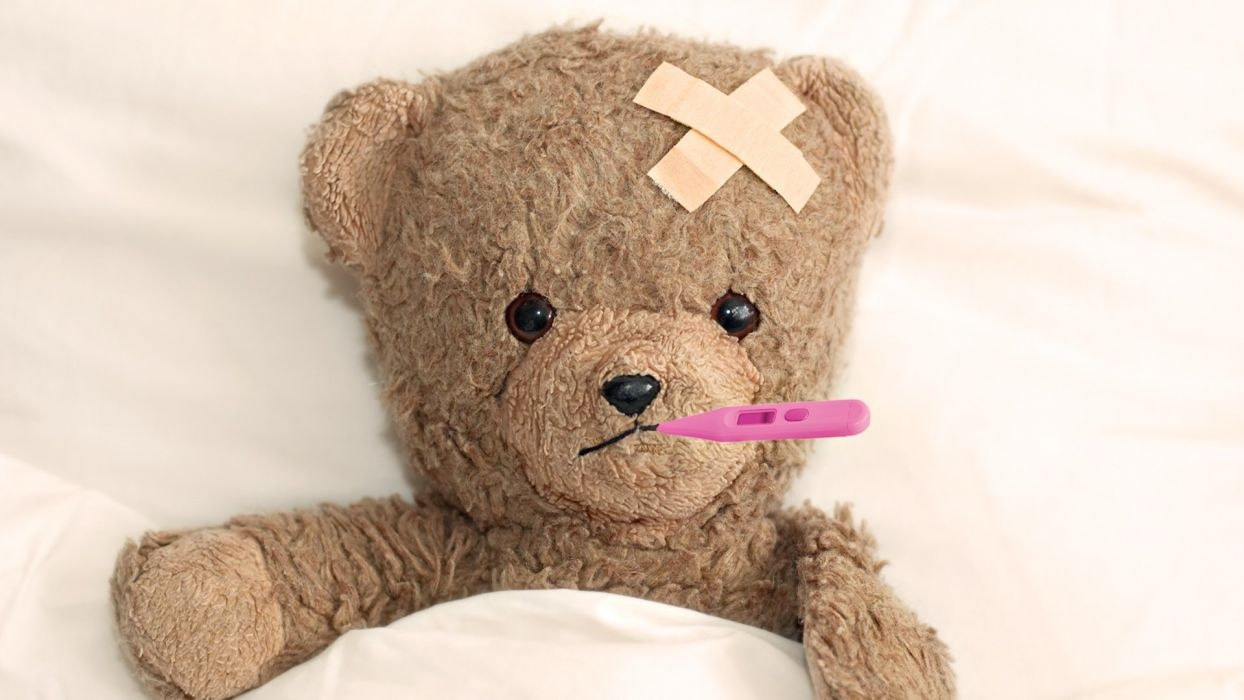 cute sick teddy wallpaper