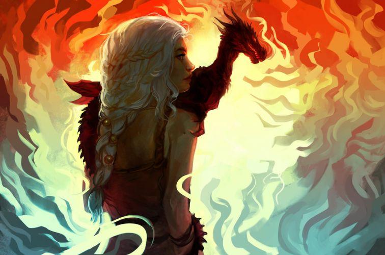 Game of Thrones Dragon Daenerys Targaryen Movies Fantasy Girls wallpaper