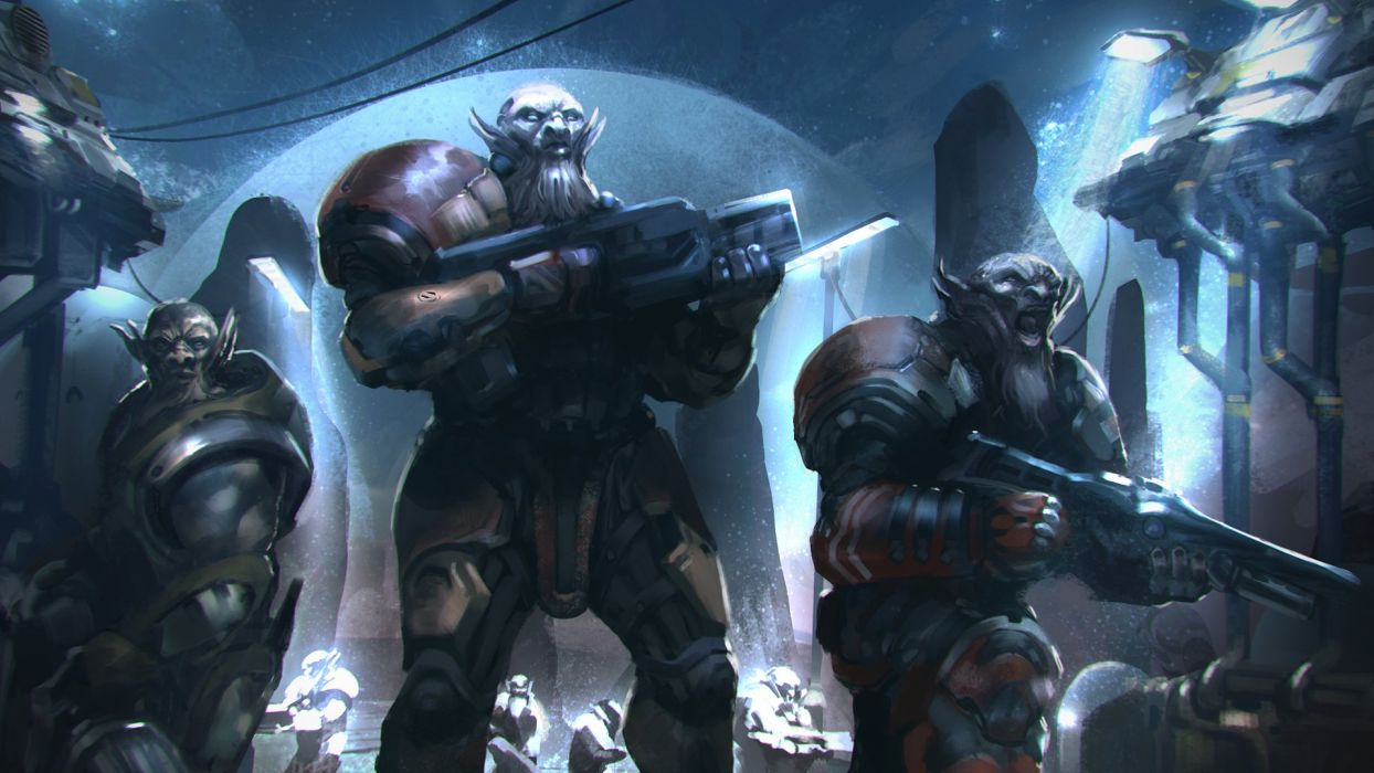 Warrior Monster Assault rifle Armor Fantasy sci-fi wallpaper