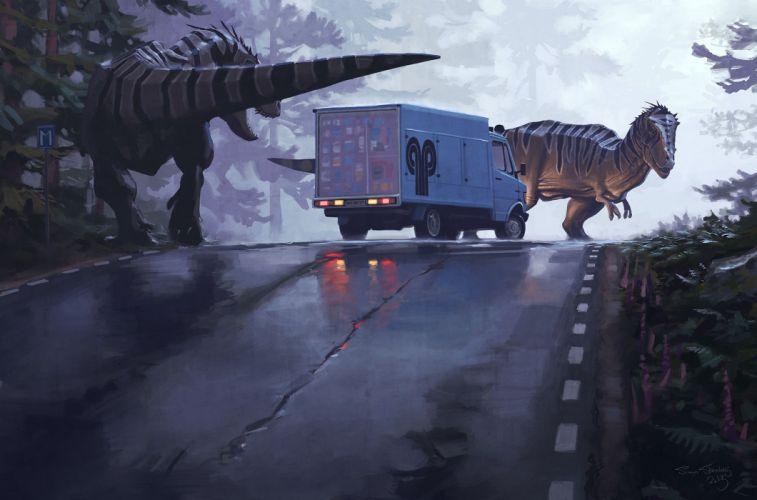 Dinosaur Truck Road Simon Stalenhag Fantasy dark horror monster wallpaper