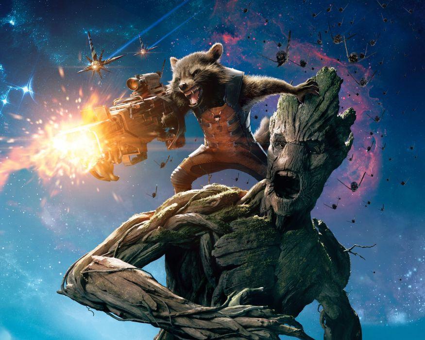 Battle Raccoon Guardians of the Galaxy Groot Rocket Raccoon Movies Fantasy sci-fi warrior wallpaper