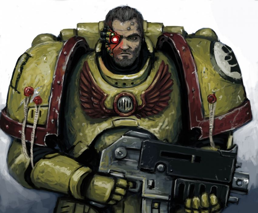 Warhammer 40000 Warrior Assault rifle Space Marine Captain Titus Armor Games Fantasy sci-fi wallpaper