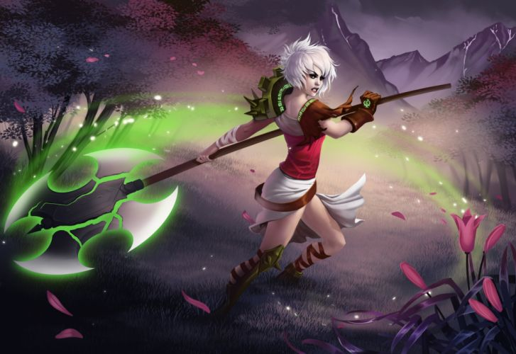 League of Legends Warrior Magic Riven Battle axes Games Fantasy wallpaper