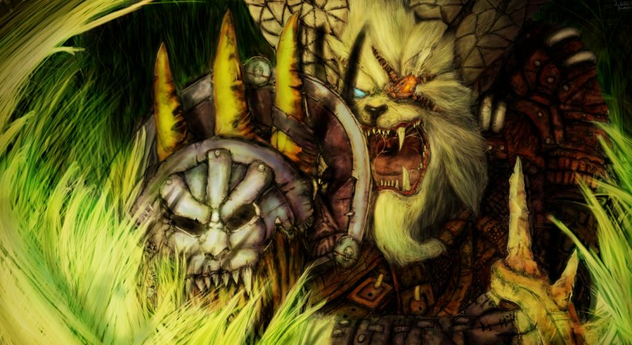 League of Legends Monster Rengar Shield Games Fantasy wallpaper