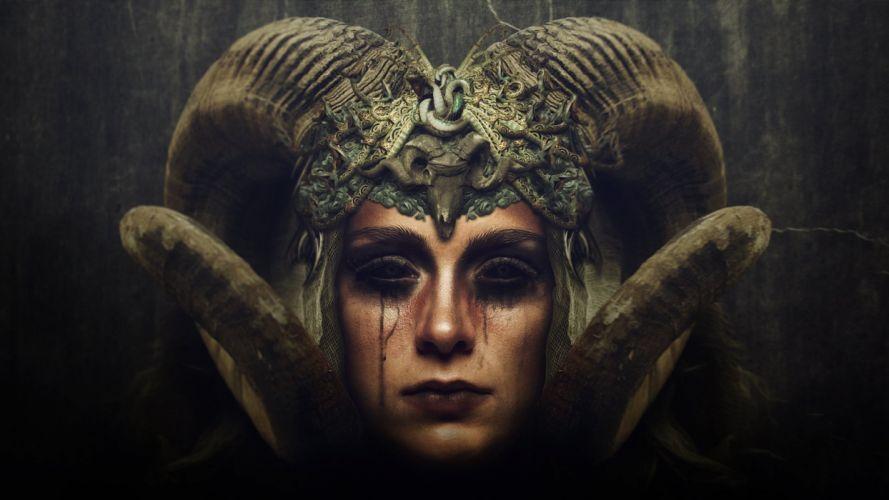 Supernatural beings Demon Gothic Horns Fantasy occult satanic dark wallpaper