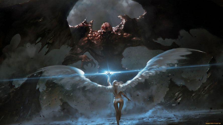 ANGEL AND DEVIL - fantasy wallpaper