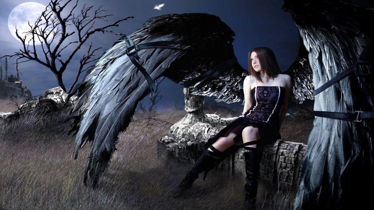BLACK ANGEL - fantasy dark girl wallpaper