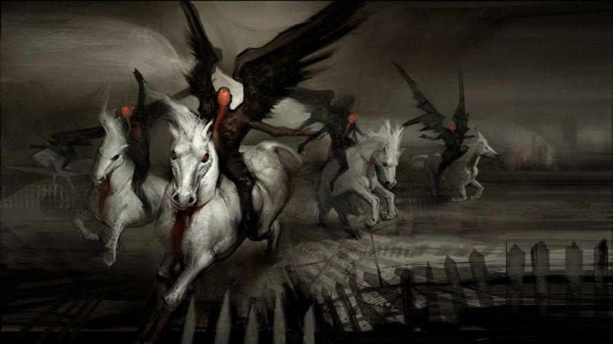 KNIGHTS ANGELS - dark horses fantasy wallpaper