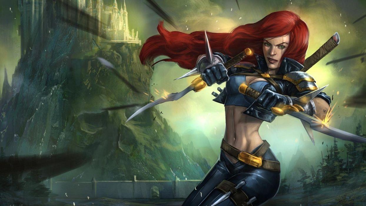 LEAGUE OF LEGENDS - daggers warrior girl wallpaper
