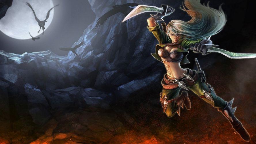 LEAGUE OF LEGENDS - sword warrior girl raven wallpaper