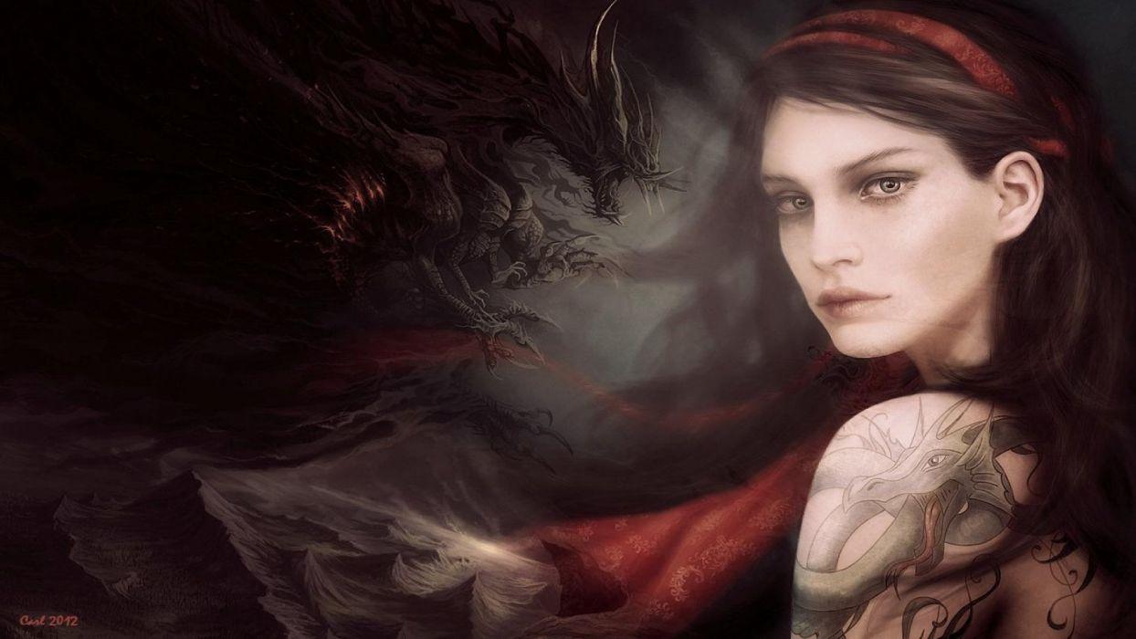Tattooed Dragon Fantasy Girl Wallpaper 1920x1080 486793