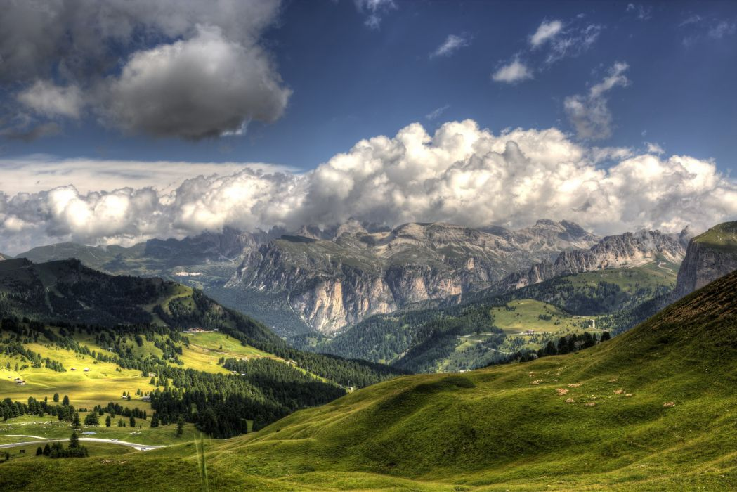 Italy Mountains Sky Scenery Grass Clouds Nature wallpaper