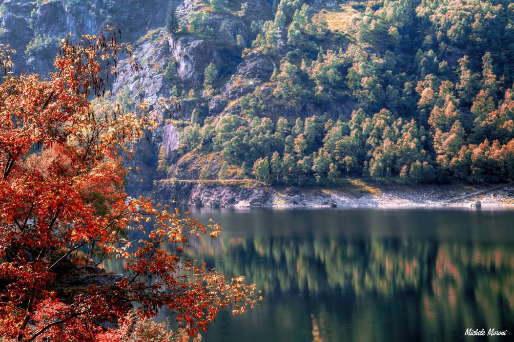 Italy River Autumn Piedmont Nature wallpaper